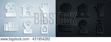 Set Location Pet Grooming, Paw Print, Towel Stack, Pet Shampoo, Dog House And Paw And Icon. Vector
