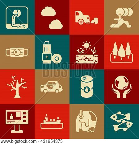 Set Dead Fish, Hands Holding Earth Globe, Forest, Car Exhaust, Battery, Medical Protective Mask, Was