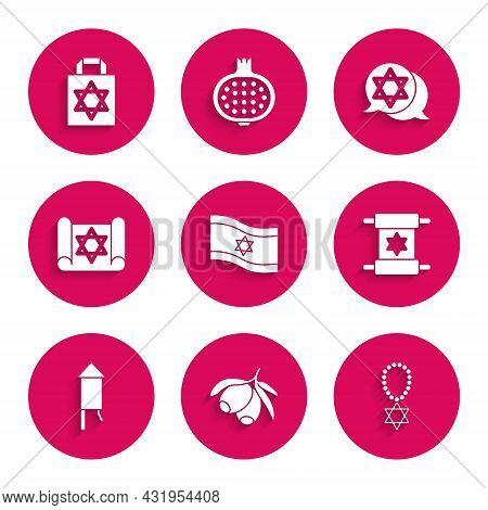 Set Flag Of Israel, Olives Branch, Star David Necklace On Chain, Torah Scroll, Firework Rocket, And