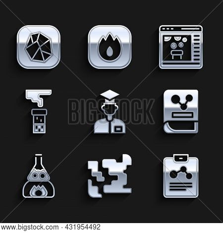 Set Laboratory Assistant, Gaseous, Chemistry Report, Book, Test Tube Flask On Fire, And, Chemical On