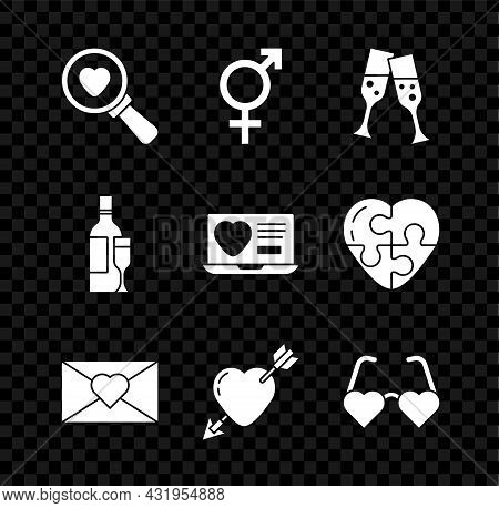 Set Search Heart And Love, Gender, Glass Of Champagne, Envelope With Valentine, Amour Arrow, Heart S