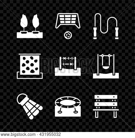 Set Forest, Soccer Goal With Ball, Jump Rope, Badminton Shuttlecock, Jumping Trampoline, Bench, Clim