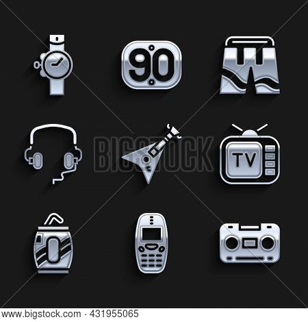 Set Electric Bass Guitar, Old Mobile Phone, Retro Audio Cassette Tape, Tv, Soda Can With Straw, Head