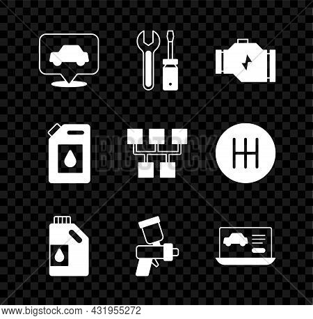 Set Car Service, Screwdriver And Wrench Spanner, Check Engine, Canister For Motor Oil, Paint Spray G