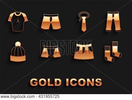 Set Men Underpants, Pants, Socks, Skirt, Winter Hat, Tie, T-shirt And Short Or Icon. Vector