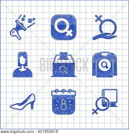 Set Female Vote Right, Calendar With 8 March, Book About Women, Feminist Shirt, Woman Shoe, Gender A
