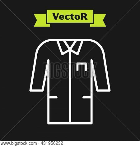 White Line Laboratory Uniform Icon Isolated On Black Background. Gown For Pharmaceutical Research Wo