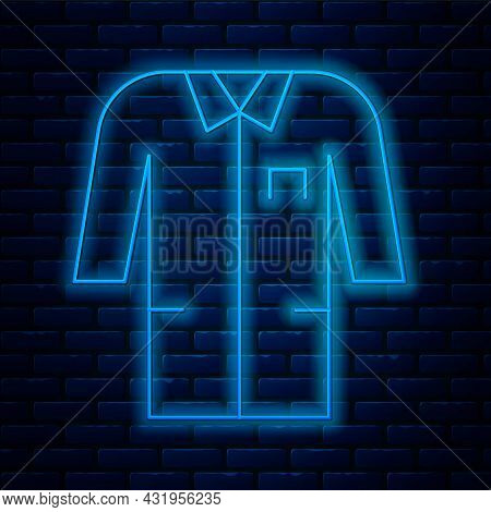 Glowing Neon Line Laboratory Uniform Icon Isolated On Brick Wall Background. Gown For Pharmaceutical