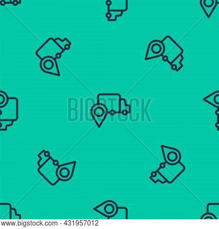 Blue Line Delivery Tracking Icon Isolated Seamless Pattern On Green Background. Parcel Tracking. Vec
