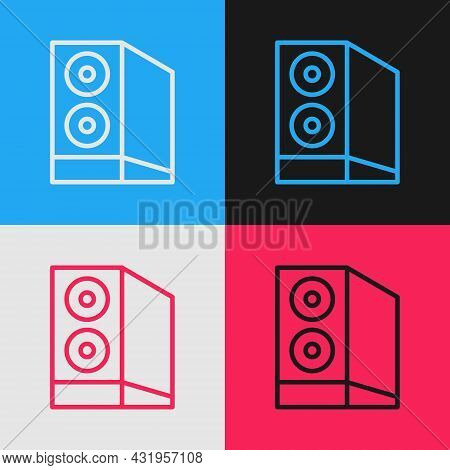 Pop Art Line Case Of Computer Icon Isolated On Color Background. Computer Server. Workstation. Vecto