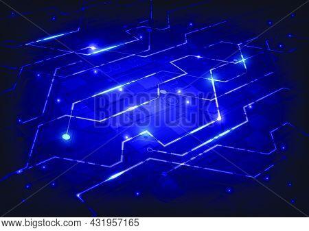 Abstract Hi-tech Background. Virtual Reality Futuristic Technology And Circuit Board. Futuristic Sci