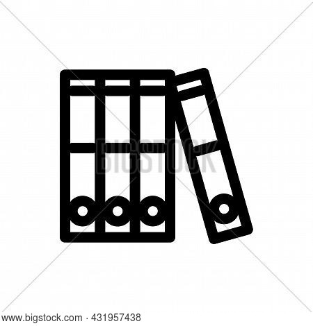 Row Of Binders Line Icon. Binder Isolated Simple Vector Icon