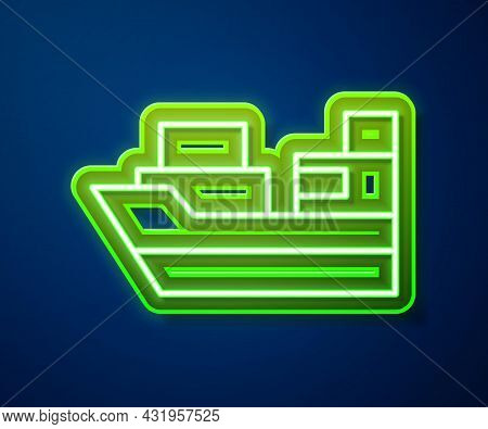 Glowing Neon Line Cargo Ship With Boxes Delivery Service Icon Isolated On Blue Background. Delivery,