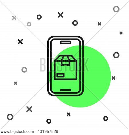 Black Line Mobile Smart Phone With App Delivery Tracking Icon Isolated On White Background. Parcel T