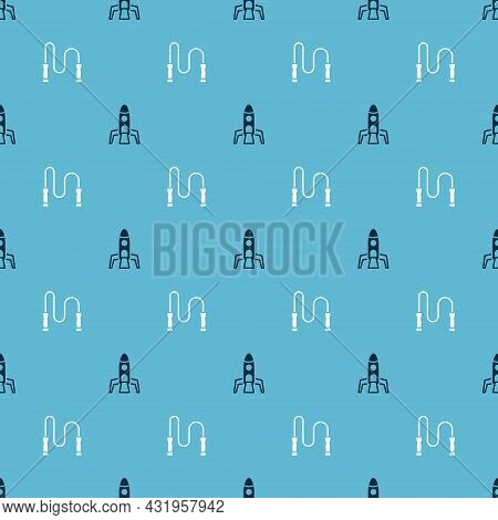 Set Rocket Ship And Jump Rope On Seamless Pattern. Vector