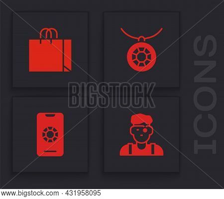 Set Jeweler Man, Shopping Bag Jewelry, Pendant On Necklace And Jewelry Online Shopping Icon. Vector