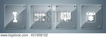 Set Doctor Appointment, Location Hospital, Stretcher And Human Broken Bone. Square Glass Panels. Vec