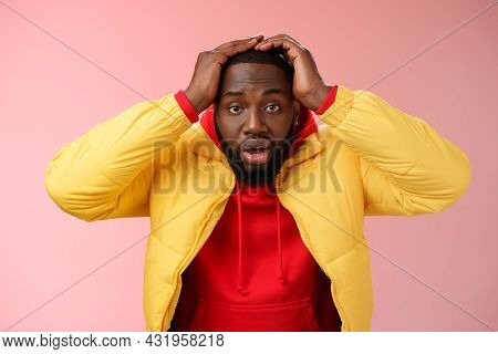Shocked Stupefied Young African-american Bearded Man Grab Head Drop Jaw Gasping Confused Frustrated