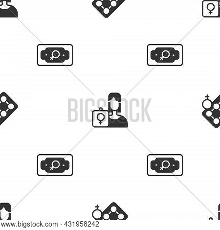 Set Packaging Of Birth Control Pills, Feminist Activist And Money Growth Woman On Seamless Pattern.