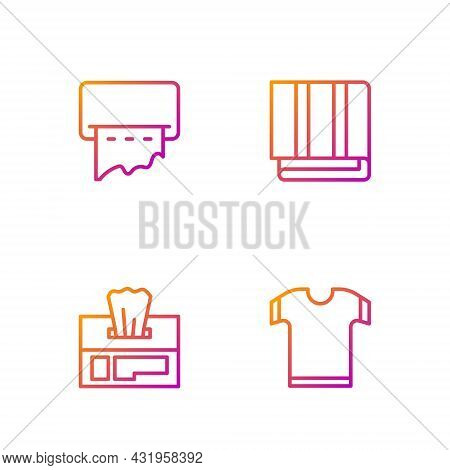 Set Line T-shirt, Wet Wipe Pack, Paper Towel Dispenser On Wall And Towel Stack. Gradient Color Icons