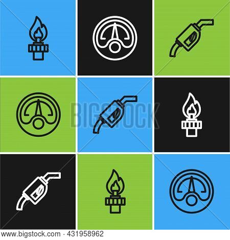 Set Line Oil Rig With Fire, Gasoline Pump Nozzle And Motor Gas Gauge Icon. Vector