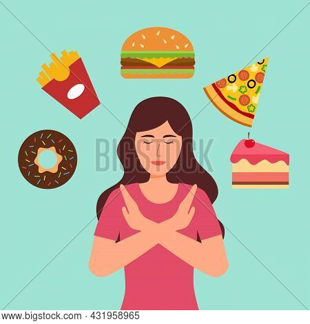 Woman Dieting Refuse Junk Food And Sweet Dessert In Flat Design. Stop Eating Unhealthy Or Fast Food