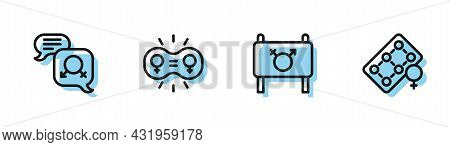 Set Line Feminist Activist, Gender Equality, And Packaging Of Birth Control Pills Icon. Vector