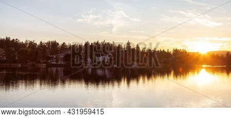 View Of A River At Gorge Park, Victoria, Vancouver Island, Bc, Canada. Colorful Sunny Summer Sunset.