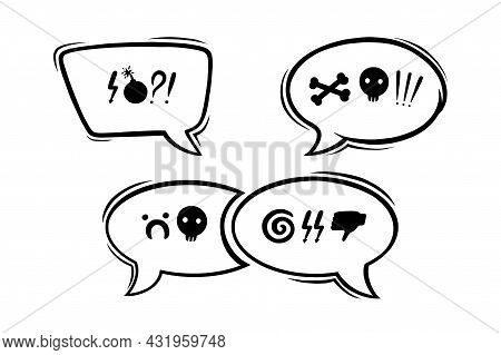 Swearing Speech Bubbles Censored With Symbols. Hand Drawn Swear Words In Text Bubbles To Express Dis