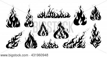 Hand Drawn Flame. Vintage Sketch Of Devils Fire Engraving. Retro Silhouette Of Bonfire. Black And Wh