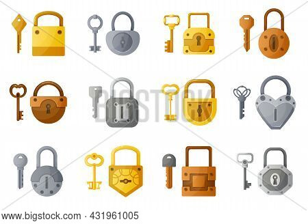 Lock And Keys. Cartoon Open And Closed Padlock. Modern And Vintage Latchkeys. Home Security. Golden