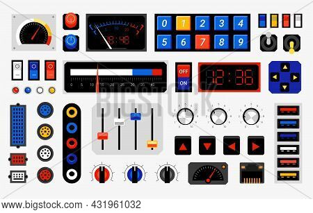 Retro Control Panel. Computer Dashboard Elements. Dials Or Connection Ports. Controller Buttons Temp