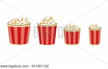 Popcorn Buckets. Large Medium And Small Portion Sizes Of Movie Snacks. Film Premiere Junk Food In Pa