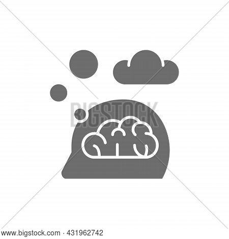 Think, Thought, Idea, Mind, Dream Cloud, Dialog Grey Icon.
