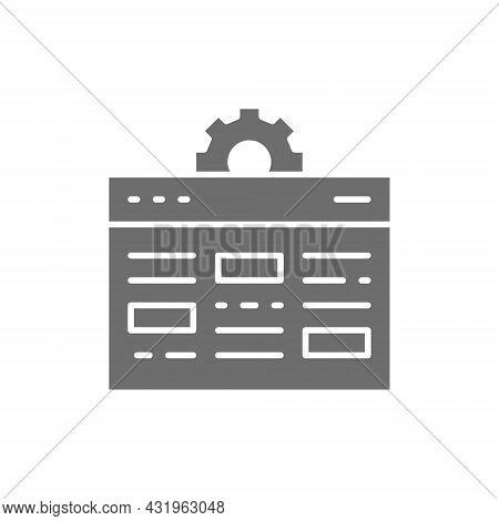 Webpage With Gear, Internet Development, Website Optimization, Seo Grey Icon.