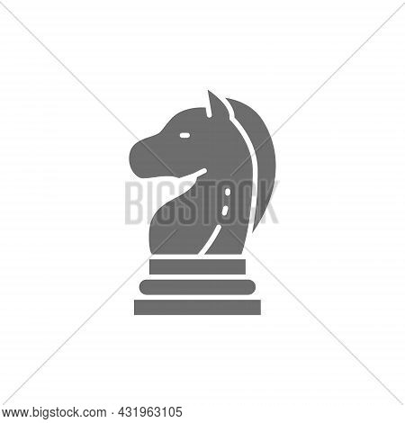 Chess Horse, Knight Piece, Strategy Grey Icon.