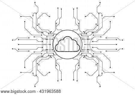 Cloud Computing And Network Security Technology Concept, Circuit Board With Cloud Symbol And Connect