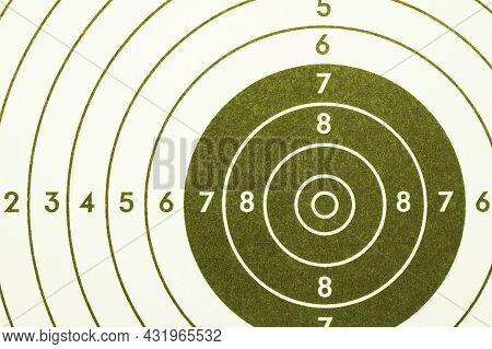 Shooting Target. Green Olive Tinted Background Or Wallpaper. Light Backdrop About Shooting Training,
