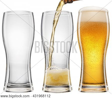 Set of three glasses with different beer level. Pouring beer into the beer glass isolated on white background. File contains clipping path.
