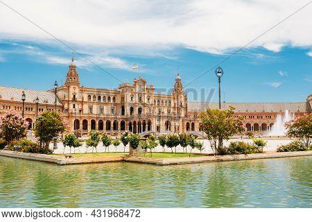 Seville, Andalusia, Spain Famous Landmark - Plaza De Espana In Seville, Andalusia, Spain. Renaissanc