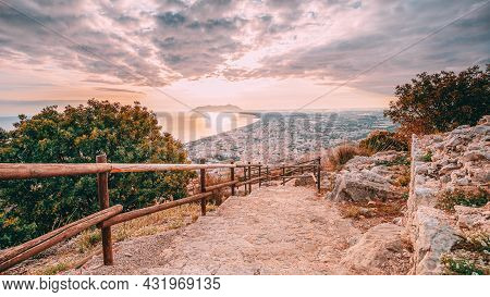 Terracina, Italy. Road To Temple Of Jupiter Anxur And Top View Skyline Cityscape City In Sunset Or S