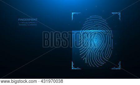 Fingerprint Identification Concept. Polygonal Vector Illustration Of Scanning Biometric Data On A Da