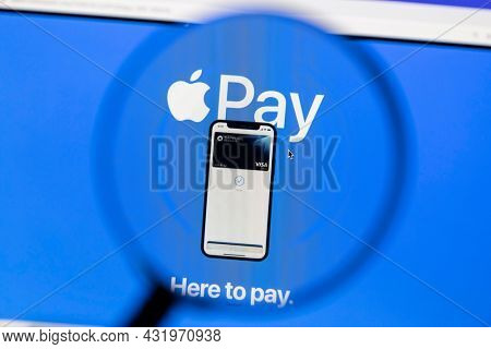 Ostersund, Sweden - July 18, 2021 Apple Pay website. Apple Pay is a mobile payment and digital wallet service by Apple Inc.