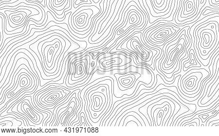 Seamless Vector Topographic Map Background. Line Topography Map Seamless Pattern. Mountain Hiking Tr