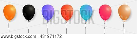 Set Of Colorful Balloons. Vector Helium Balloons Template For Anniversary, Birthday Party, Holiday D
