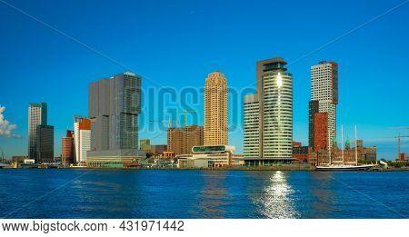 Panorama of Rotterdam skyscrapers skyline over of Nieuwe Maas river. Rotterdam, the Netherlands