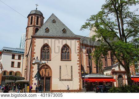 Frankfurt, Germany - June 15, 2016: People Going Near Liebfrauen Church