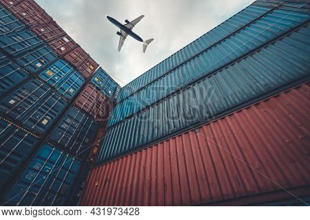 Freight Airplane Flying Above Overseas Shipping Container . Logistics Supply Chain Management And In