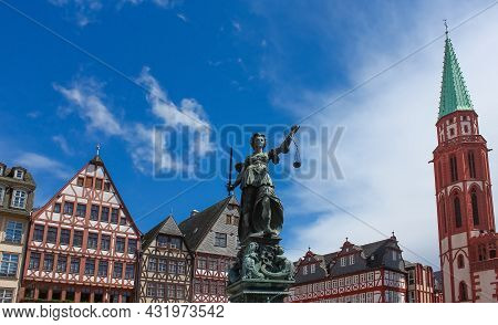 The Old Town With The Justitia Statue In Frankfurt