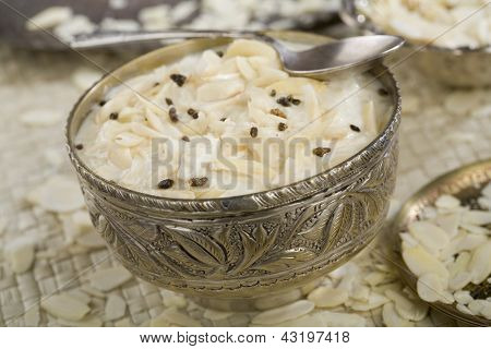 Indian food, Kheer, rice dessert.